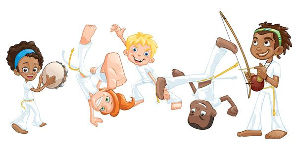 children playing capoeira animated